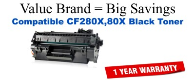 CF280X,80X High Yield Black Compatible Value Brand toner