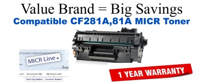 CF281A,81A MICR Compatible Value Brand toner