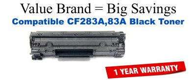 Remanufactured HP 83A Black Toner for use in CF283A M125  M127