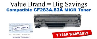 HP 83A Black Remanufactured MICR Toner Cartridge (CF283A)