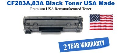 CF283A,83A Black Premium USA Made Remanufactured HP toner