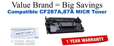 CF287A,87A MICR Compatible Value Brand toner