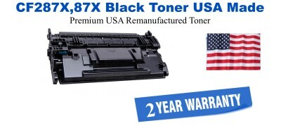 CF287A,87X High Yield Black Premium USA Made Remanufactured HP toner