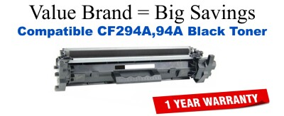 CF294A,94A Black Compatible Value Brand toner