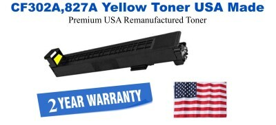 CF302A,827A Yellow Premium USA Made Remanufactured HP toner