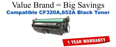 CF320A,652A Black Compatible Value Brand toner