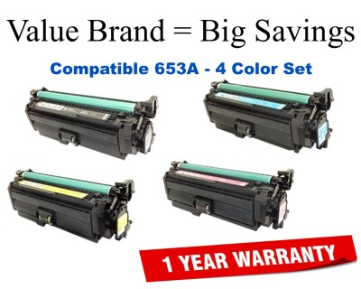 653X, 653A 4-Color Set Compatible Value Brand toner CF320X,CF321A,CF322A,CF323A