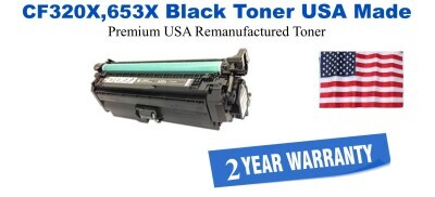 CF320X,653X High Yield Black Premium USA Made Remanufactured HP toner