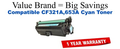 CF321A,653A Cyan Compatible Value Brand toner