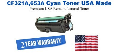 CF321A,653A Cyan Premium USA Made Remanufactured HP toner