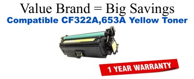 CF322A,653A Yellow Compatible Value Brand toner