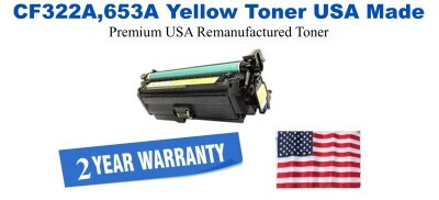 CF322A,653A Yellow Premium USA Made Remanufactured HP toner