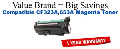 CF323A,653A Magenta Compatible Value Brand toner