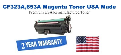 CF323A,653A Magenta Premium USA Made Remanufactured HP toner