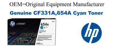 New Original HP 654A Cyan Toner Cartridge (CF331A)