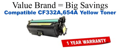 HP 654A Yellow Economy Toner Cartridge (CF332A)