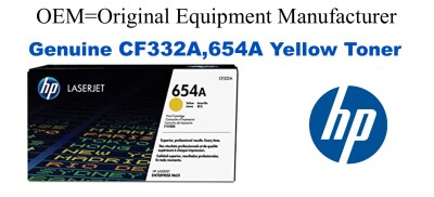 New Original HP 654A Yellow Toner Cartridge (CF332A)