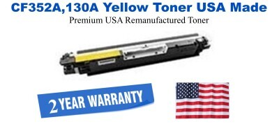 CF352A,130A Yellow Premium USA Made Remanufactured HP toner