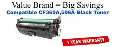 CF360A,508A Black Compatible Value Brand toner