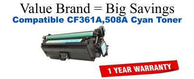 CF361A,508A Cyan Compatible Value Brand toner
