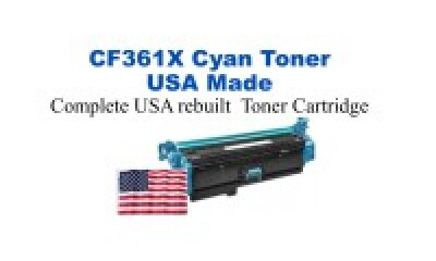 CF361X,508X High Yield Cyan Premium USA Made Remanufactured HP toner