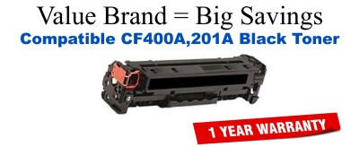 CF400A,201A High Yield Black Compatible Value Brand toner