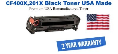 CF400X,201X High Yield Black Premium USA Made Remanufactured HP toner