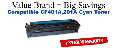 CF401A,201A High Yield Cyan Compatible Value Brand toner