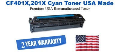 CF401X,201X High Yield Cyan Premium USA Made Remanufactured HP toner