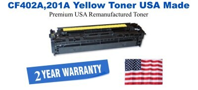 CF402A,201A Yellow Premium USA Made Remanufactured HP toner