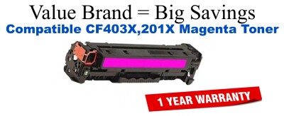 CF403X,201X High Yield Magenta Compatible Value Brand toner