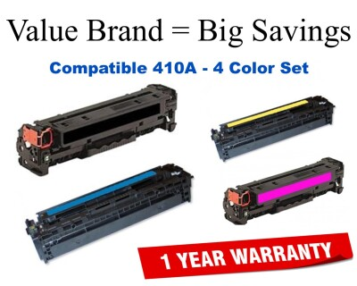 410A 4-Color Set Compatible Value Brand toner CF410A,CF411A,CF412A,CF413A
