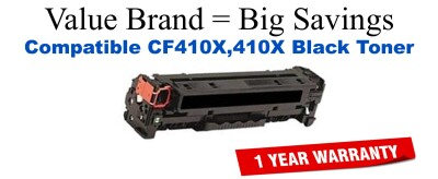 CF410X,410X High Yield Black Compatible Value Brand toner
