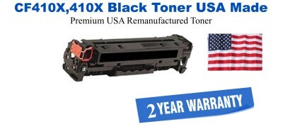CF410X,410X High Yield Black Premium USA Made Remanufactured HP toner