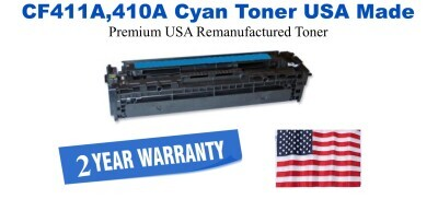 CF411A,410A Cyan Premium USA Made Remanufactured HP toner