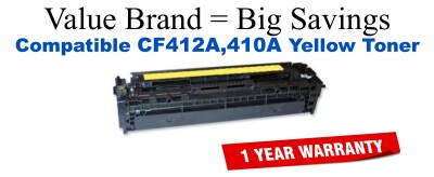 CF412A,410A Yellow Compatible Value Brand toner
