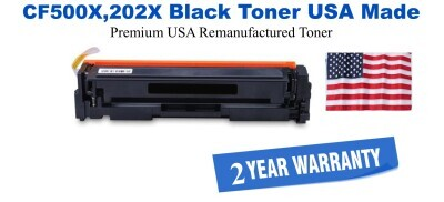 CF500X,202X High Yield Black Premium USA Made Remanufactured HP toner