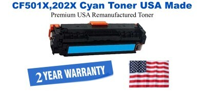 CF501X,202X High Yield Cyan Premium USA Made Remanufactured HP toner