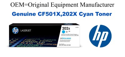 New Original HP 202X Cyan Toner Cartridge (CF501X)