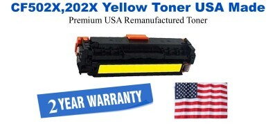 CF502X,202X High Yield Yellow Premium USA Made Remanufactured HP toner