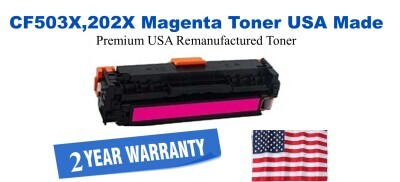 CF503X,202X High Yield Magenta Premium USA Made Remanufactured HP toner
