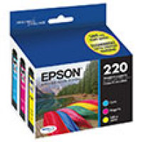 Genuine Epson T220520 Tri-Color Combo Pack Ink Cartridge