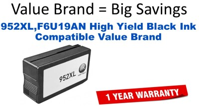 952XL,F6U19AN High Yield Black Compatible Value Brand ink