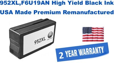 952XL,F6U19AN High Yield Black Premium USA Made Remanufactured ink