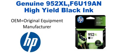952XL,F6U19AN Genuine High Yield Black HP Ink