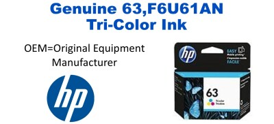 New Original HP 63 Tri-Color Ink Cartridge (F6U61AN) (#63)