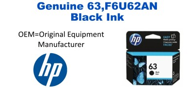 New Original HP 63 Black Ink Cartridge (F6U62AN) (#63)