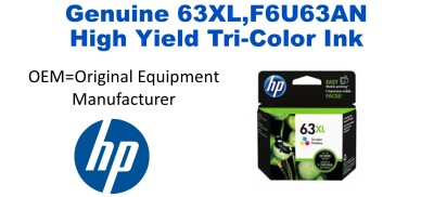New Original HP 63XL Tri-Color Ink Cartridge (F6U63AN) (#63XL)