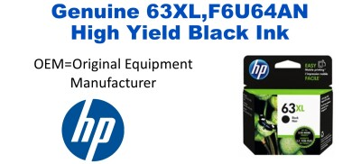 New Original HP 63XL Black Ink Cartridge (F6U64AN) (#63XL)