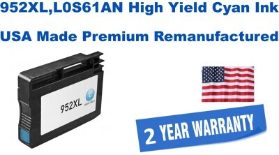 952XL,L0S61AN High Yield Cyan Premium USA Made Remanufactured ink